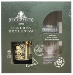 Gavæske Ron Diplomatico Reserva Exclusiva med 2 glas OLD FASHION style