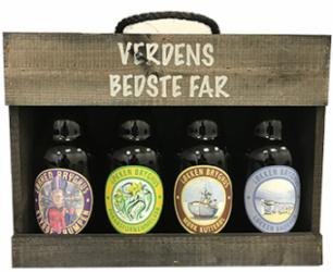 Fars Ølkasse med 4 øl (Stygge Krumpen, Forårsfornemelser, Mørk Kutterøl og Løkken Badehus)